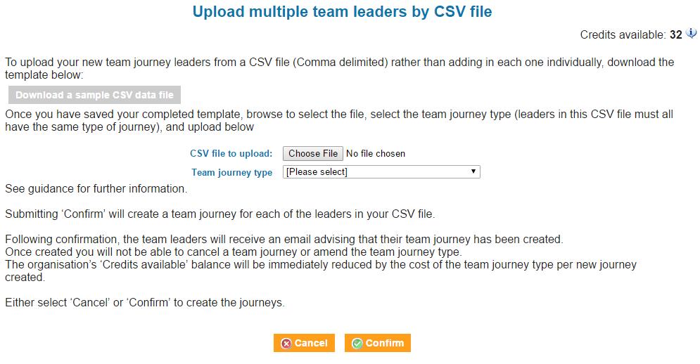 create team journeys CSV